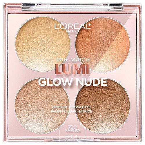 L'Oreal Paris - L'Oreal Paris Makeup True Match Lumi Glow Nude Highlighter Palette, customizable glow palette, highlighter, bronzer and blush, for a natural, illuminated look, 2 universal shades, Sun-Kissed, 0.26 oz.