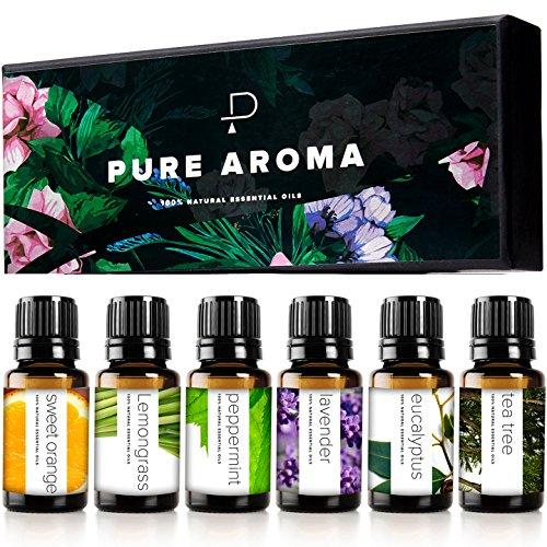 Pure Aroma - Essential Oils by Pure Aroma 100% Pure Therapeutic Grade Oils kit- Top 6 Aromatherapy Oils Gift Set-6 Pack, 10ML(Eucalyptus, Lavender, Lemon Grass, Orange, Peppermint, Tea Tree)