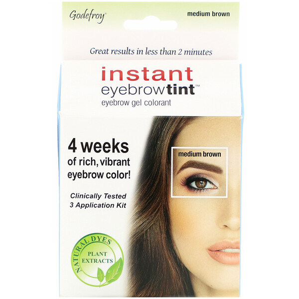 Godefroy - Godefroy, Instant Eyebrow Tint, Medium Brown, 3 Application Kit