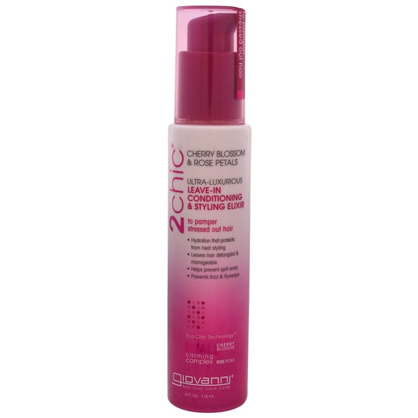 Giovanni - Giovanni, 2chic, Ultra-Luxurious Leave-In Conditioning & Styling Elixir, Cherry Blossom & Rose Petals, 4 fl oz (118 ml)