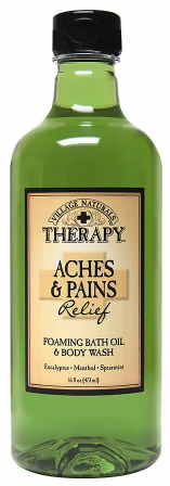 Village Naturals - Village Naturals Therapy Aches & Pains Muscle Relief Foaming Bath Oil Body Wash 16 oz 2019