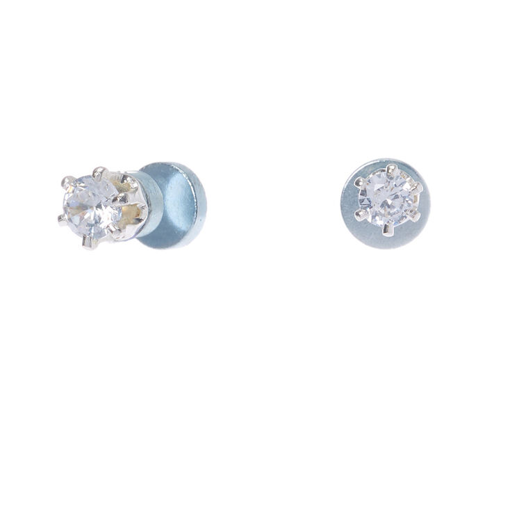 claires - Silver Cubic Zirconia 3MM Round Magnetic Stud Earrings