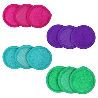dollartree.com - Product details page for April Bath & Shower Microfiber Spa Facial Scrubbers, 3-ct. Packs is loaded.