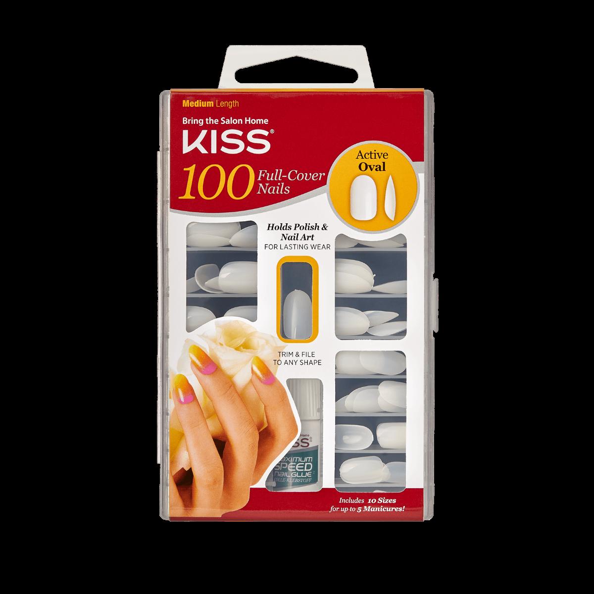 Kiss - KISS 100 Full-Cover Nail Kit Active Oval Medium Length