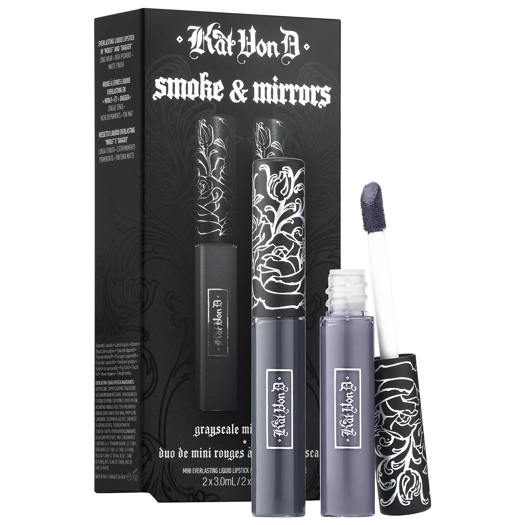Kvd Kitten Mini Smoke & Mirrors Grayscale Mini Lip Everlasting Liquid Lip Duo